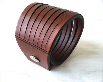 Woman's Slashed Brown Leather Cuff - Leather Bracelet - Silver Snap Cut Leather Cuff - Custom Sized Bracelet