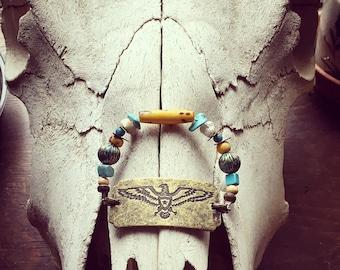 Brass Eagle Beaded Bracelet