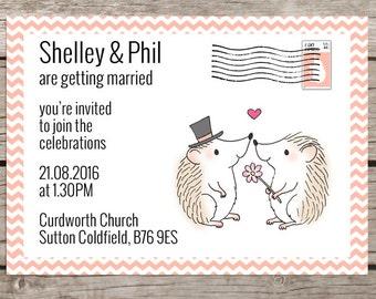 Hedgehog wedding invitation
