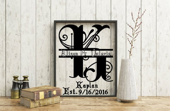 Personalized Initial Split Letter Monogram Floating Frame, Customized Same Sex Marriage, Wedding Frame, Gay Marriage, Gay Wedding Gift