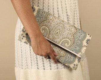 paisley linen foldover clutch, neutral beige blue purse, wedding bag, de almeida designs