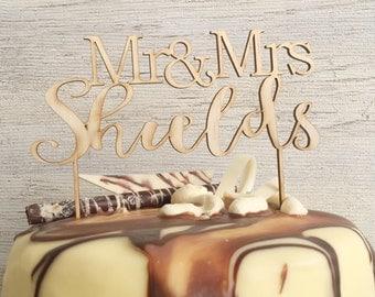 Mr & Mrs - Custom wood wedding toppper couple name - Plywood personalised cake decoration timber