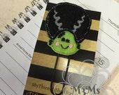 Halloween Planner Clip, Miss Frankenstein Feltie, Halloween planner, Frankenstein bookmark, planner lover, October Planner Clip, Halloween