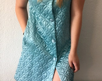 Vintage Quilted Blue Satin Frock Dress Button Down
