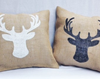 Moose Pillow, Deer Pillow, Rustic Decor, Cabin Decor, Christmas Pillow, Christmas Decor, Winter decor, Home Decor, , Burlap Pillow