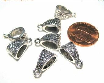 50% OFF Clearance Sale 10pcs Antique Silver Bails 14x8mm Necklace Bail Metal Pendant Bail