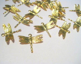 30pcs Small Raw Brass Dragonfly Charm Pendant 13x15mm