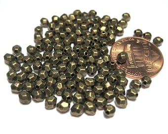 100pcs Antique Bronze Round Faceted Spacer Beads 3mm Tibetan Silver Spacer Beads