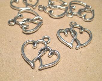 Antique Silver Double Heart Charm Pendants