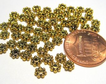 100pcs Antique Gold Daisy Spacer Metal Beads 4mm Metal Spacer Beads