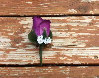 Purple rose Boutonniere  for Wedding, Prom or dances