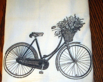 Flour Sack Kitchen Towel Black & White Bicycle