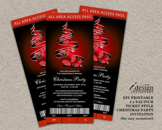 holiday party ticket invitations elegant printable ticket