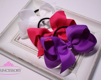 hair bows for girls, Ponytail holder, toddler gift, kids gift, baby girl, girls gift, ponytail bows, hair bow, YOU PICK 3 COLORS, school