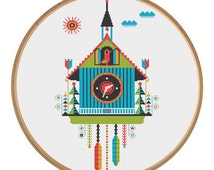 sunny cuckoo clock - modern cross stitch pattern PDF