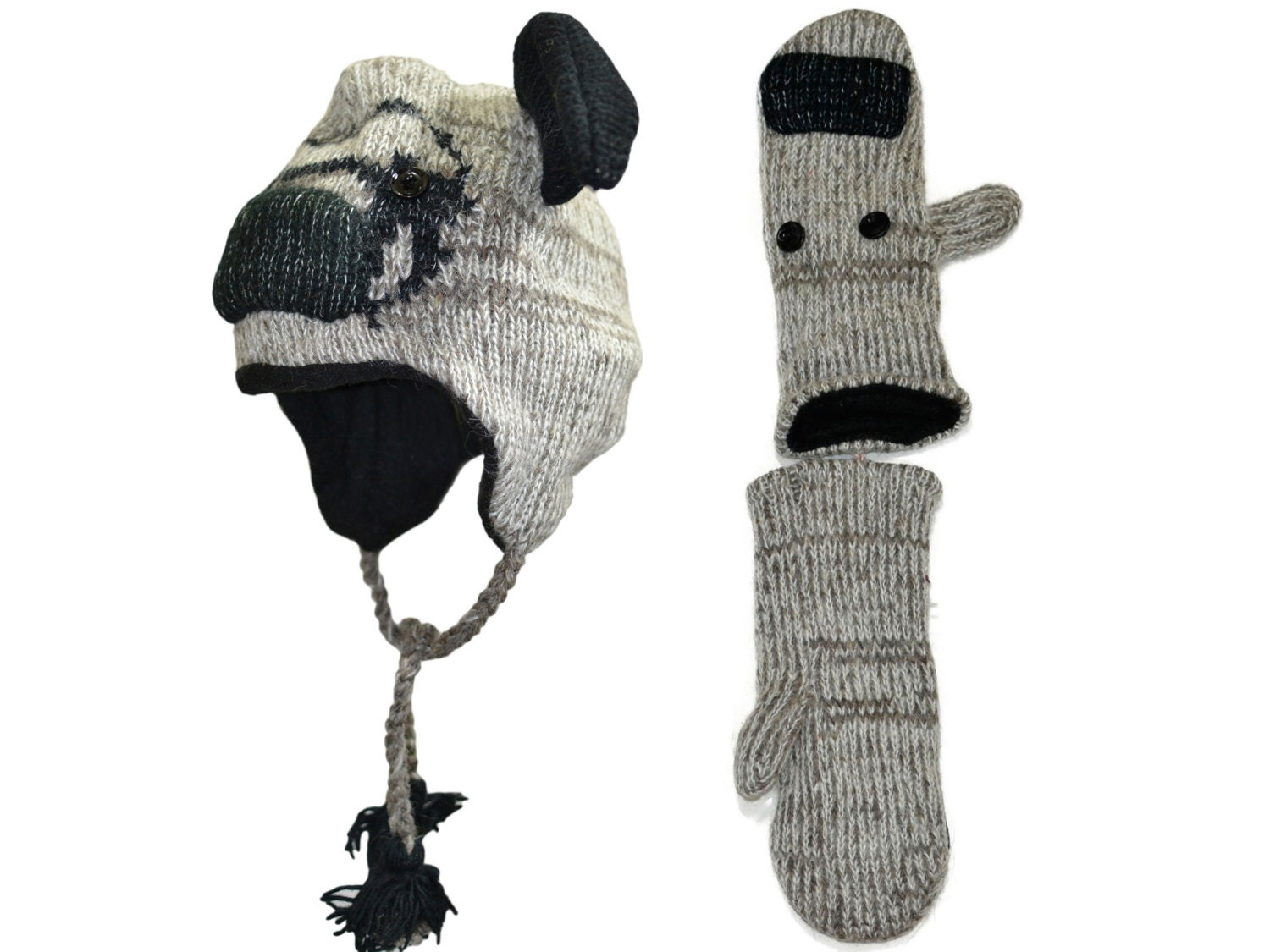 Pug puppy dog animal knit hat with mittens set free shipping