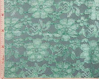 """Green Daisy Flower Embroidery Lace Fabric Nylon 56-58"""""""