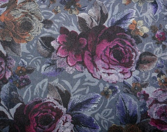 CLEARANCE - Dark grey rose print fabric  - 100cm remnant