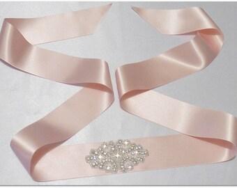 Vintage Crystal Christening/flower girl Sash Belt for Dress Rhinestone pink