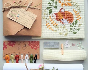 Needlework kits - sleepy fox, cross stitch, cute cross stitch kit, crossstitch fox, garden gift, fox gift, gifts for her, kit to make fox