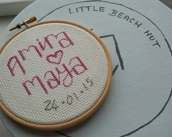 Cross stitch personalised Baby gift. Twin baby gift, hoop art, personalised baby gift, wedding gift, valentine's gift, love, names.