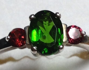 Rare Russian Chrome Diopside and Rhodolite Garnets size 8