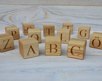 29 Swedish Alphabet Wooden Blocks, Handmade ABC Letter Blocks, Wood Letter Cubes, Natural Toy Building Blocks, Birthday Gift