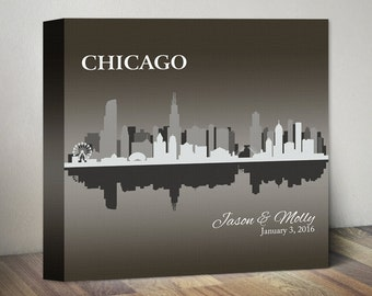 Engagement Gift City Skyline Canvas Art Engagement Present Any City Personalized Valentines Day Gift for Couple Gift, Chicago Skyline Canvas