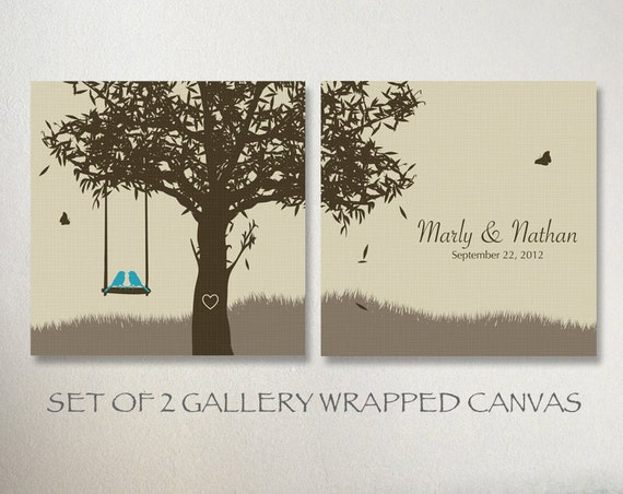 Art Piece Wedding Gift : Art Set 2 Pieces, Wedding Tree Canvas, Custom Wedding Anniversary Gift ...