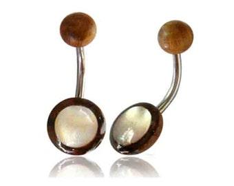 Organic Pearl tamarind wood brown white belly button piercing slice banana piercing stainless steel (art.-No.: BNP-16)