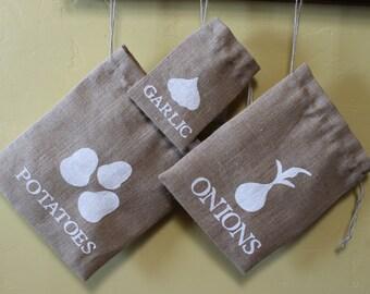 Burlap onion, garlic and potato storage bag set. Garden storage bags. Burlap Garden Bag Gift. Onion decor Custom Burlap Garden Bag. Gift set