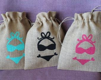 "Custom Burlap 8"" x 10"" bikini bag. Bachelorette survival kit bikini bag- wedding shower party favor bag.  Rustic Wedding Favor."