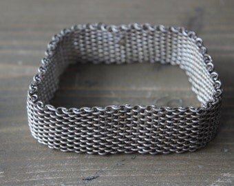 Rare Vintage Sterling Silver Chainmaille Bangle Bracelet HEAVY