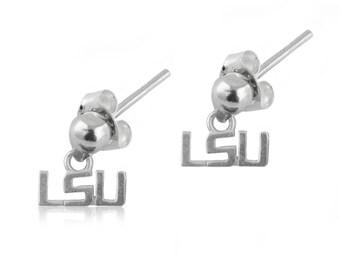 LSU Sterling Silver Post Dangle Earrings, LSU Jewelry
