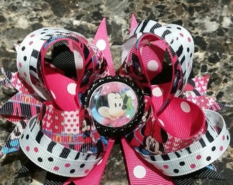 minnie  layered hair bow over the top