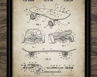Vintage Skateboard Patent Print - 1994 Skateboard Design - Skateboarding Sport - Single Print #1038 - INSTANT DOWNLOAD
