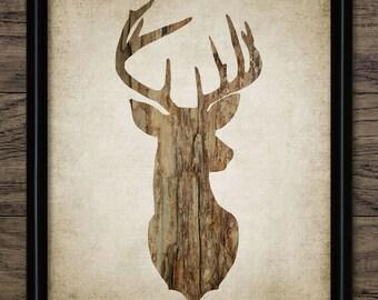 Stag Print - Deer Wood Decor - Deer Art Illustration - Stag Design - Printable Art - Single Print #551 - INSTANT DOWNLOAD