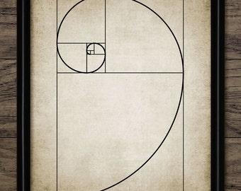 Vintage Fibonacci Spiral Print - Fibonacci Illustration - Mathematical Golden Ratio - Printable Art - Single Print #655 - INSTANT DOWNLOAD