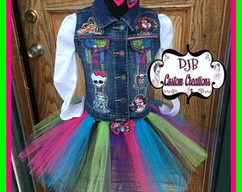 Monster girls tutu set, Tutu set, Monster custom vest, Custom Monster High, Frankiestein tutu, Monster High vest, Draculaura Tutu,