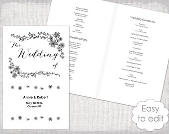wedding program brochure template