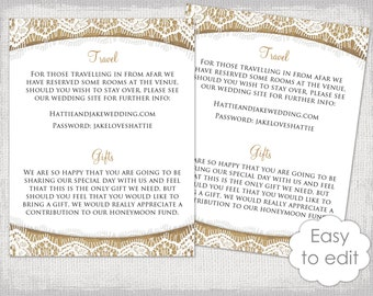 "Wedding information card template ""Burlap & Lace"" Printable rustic wedding details cards Editable YOU edit Word digital instant download"