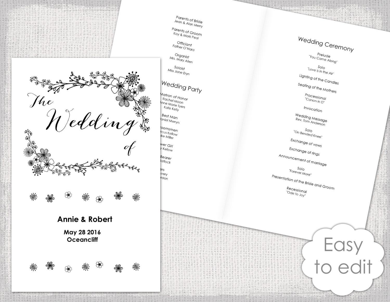 wedding program booklet template printable floral