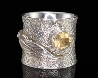 Citrine & 925 Sterling Silver Ring with Feather Detail, Dress Ring, Gemstone Ring #B159