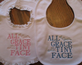 Embroidered Baby Bid, All of Gods Grace in one Tiny Face
