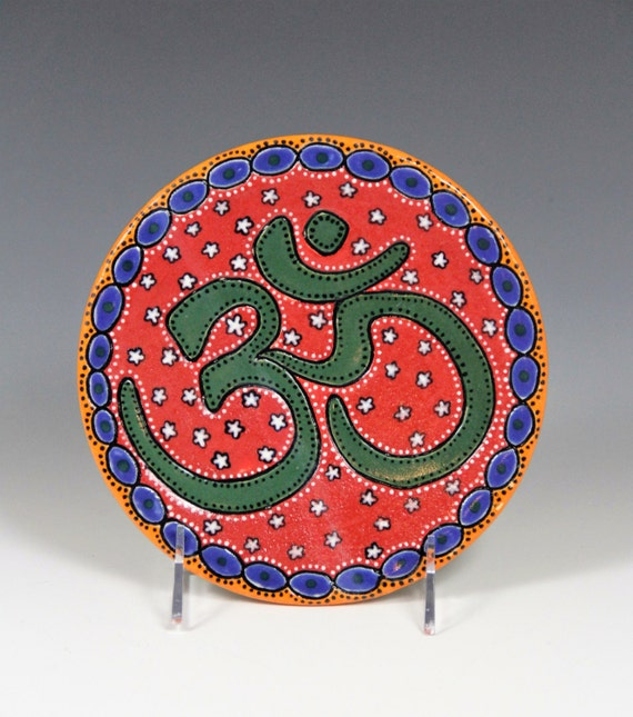 OM plate // Hand made ceramic plate // OM sign // Painted plate // Red round small plate