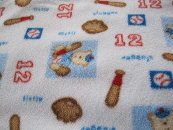 Crib Sheet/Toddler Bed Micro-Fleece Fitted Sheet - White background, Baseball theme, Bats, Gloves,