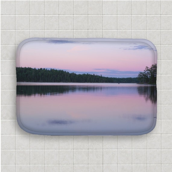 Bath Mat, Pink and Purple, Nature Photography, Boundary Waters, Bathroom Art, Memory Foam, Pastel Colors, Bath Room Decor, Photo Gifts