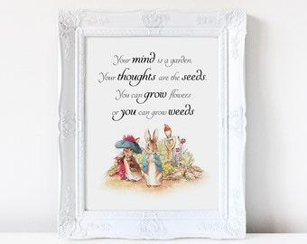 Inspirational quote, Beatrix Potter illustration, Peter Rabbit, nursery quote, art print, wall art, nursery art