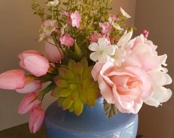 Tulip Flower Arrangement, Tulip Floral, Succulent Floral Arrangement,Tabletop Floral Decor, Pink Flower Arrangement, Pantone Blue and Pink,