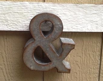 Industrial Metal Ampersand /Rustic Metal Distressed Ampersand Sign